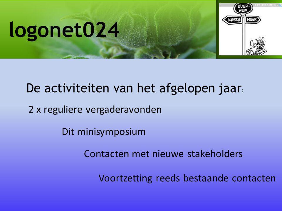 logonet024 De activiteiten van het afgelopen jaar : 2 x reguliere vergaderavonden Contacten met nieuwe stakeholders Voortzetting reeds bestaande contacten Dit minisymposium