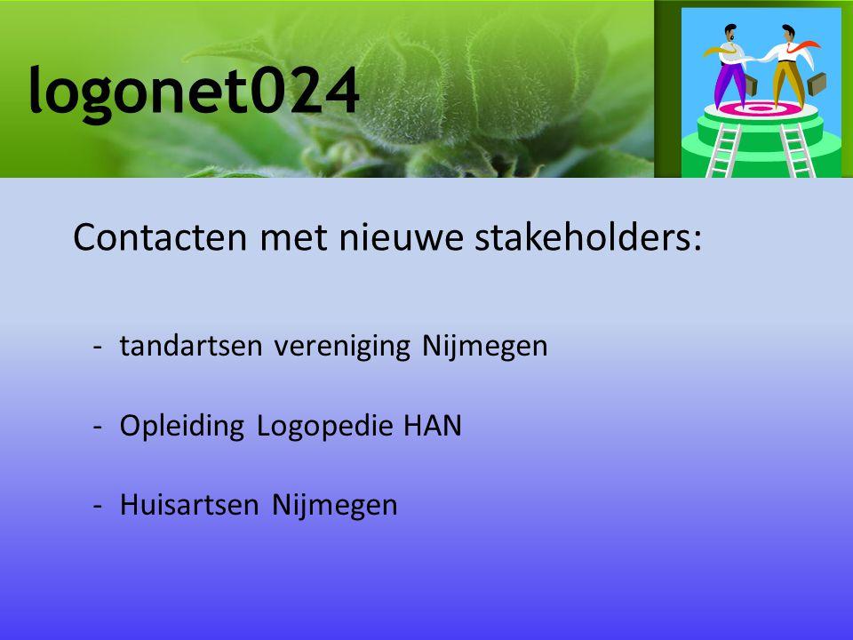logonet024 -tandartsen vereniging Nijmegen -Opleiding Logopedie HAN -Huisartsen Nijmegen Contacten met nieuwe stakeholders: