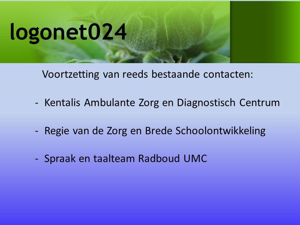 logonet024 -Kentalis Ambulante Zorg en Diagnostisch Centrum -Regie van de Zorg en Brede Schoolontwikkeling -Spraak en taalteam Radboud UMC Voortzetting van reeds bestaande contacten: