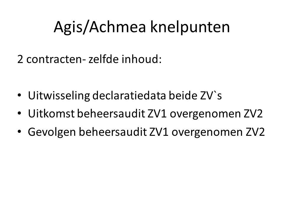 Agis/Achmea knelpunten 2 contracten- zelfde inhoud: Uitwisseling declaratiedata beide ZV`s Uitkomst beheersaudit ZV1 overgenomen ZV2 Gevolgen beheersaudit ZV1 overgenomen ZV2