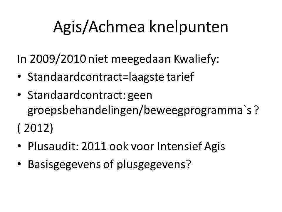 Agis/Achmea knelpunten In 2009/2010 niet meegedaan Kwaliefy: Standaardcontract=laagste tarief Standaardcontract: geen groepsbehandelingen/beweegprogramma`s .