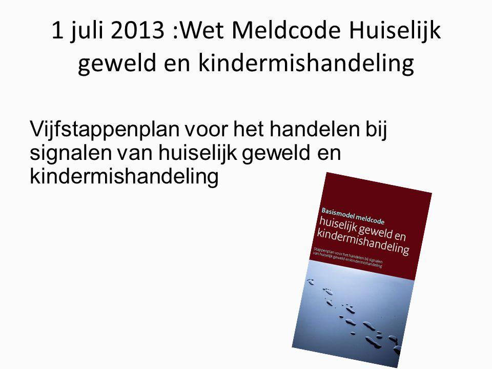 1 juli 2013 :Wet Meldcode Huiselijk geweld en kindermishandeling Vijfstappenplan voor het handelen bij signalen van huiselijk geweld en kindermishandeling