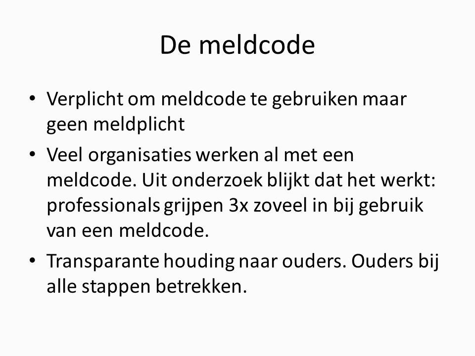 De meldcode Verplicht om meldcode te gebruiken maar geen meldplicht Veel organisaties werken al met een meldcode.