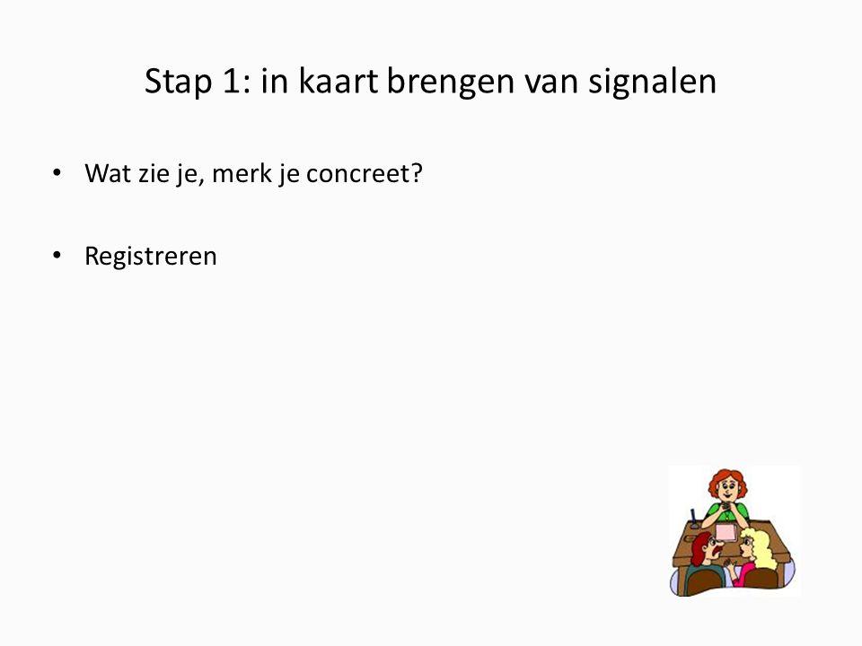 Stap 1: in kaart brengen van signalen Wat zie je, merk je concreet? Registreren