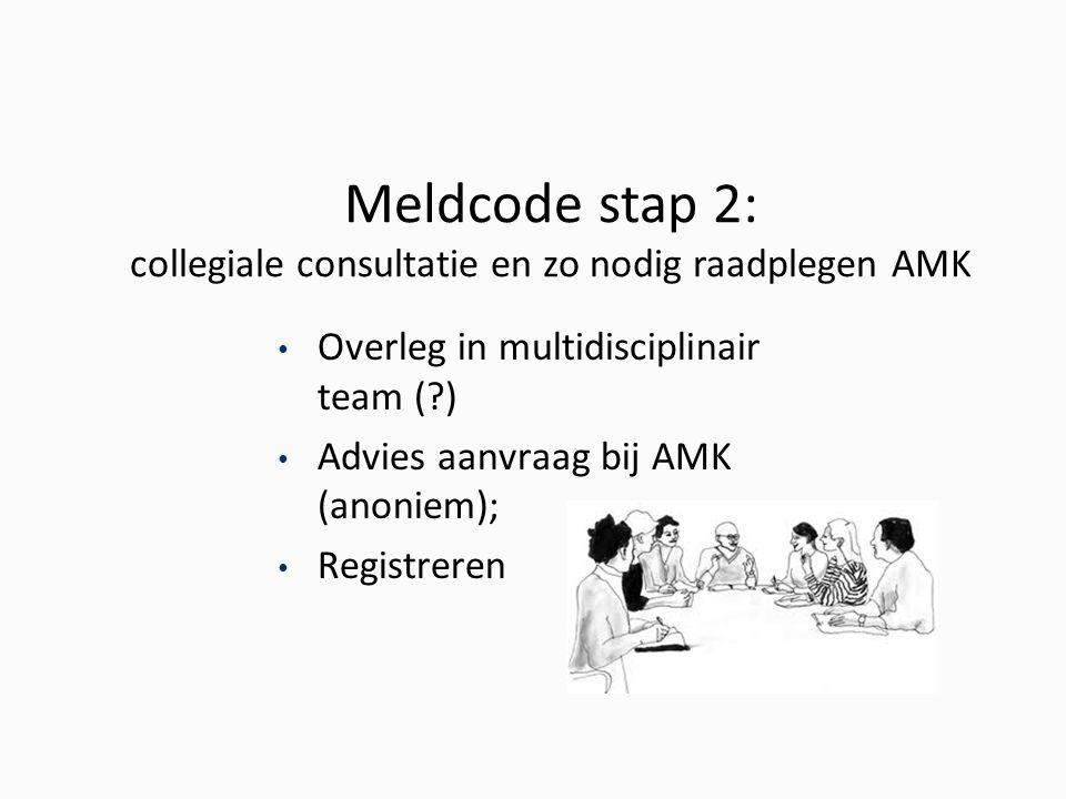 Meldcode stap 2: collegiale consultatie en zo nodig raadplegen AMK Overleg in multidisciplinair team (?) Advies aanvraag bij AMK (anoniem); Registreren