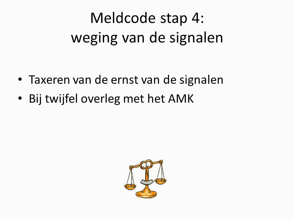 Meldcode stap 4: weging van de signalen Taxeren van de ernst van de signalen Bij twijfel overleg met het AMK