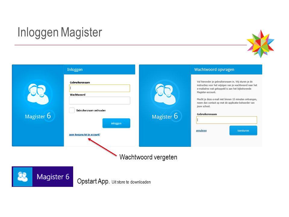 Inloggen Magister Wachtwoord vergeten Opstart App. Uit store te downloaden
