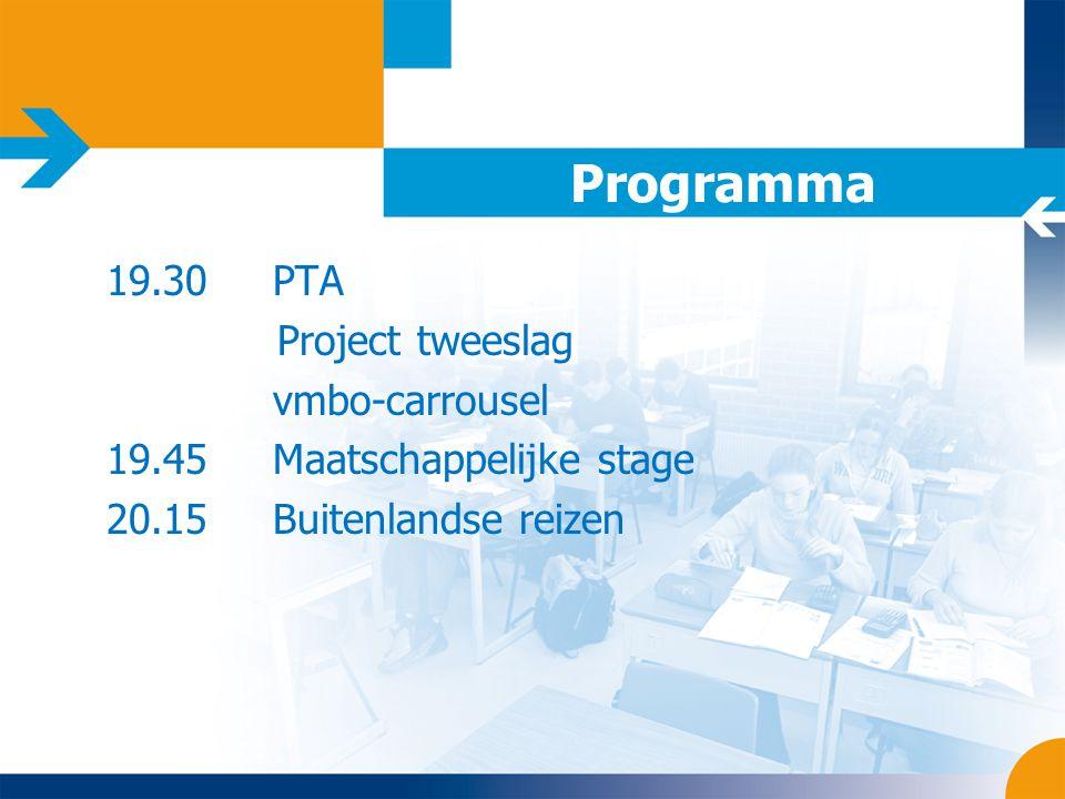Programma 19.30 PTA Project tweeslag vmbo-carrousel 19.45 Maatschappelijke stage 20.15 Buitenlandse reizen