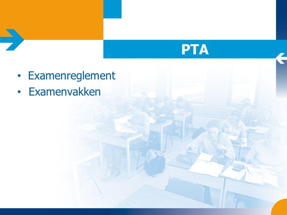 PTA Examenreglement Examenvakken