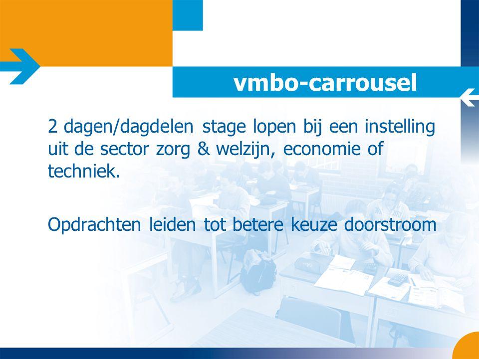 vmbo-carrousel 2 dagen/dagdelen stage lopen bij een instelling uit de sector zorg & welzijn, economie of techniek.