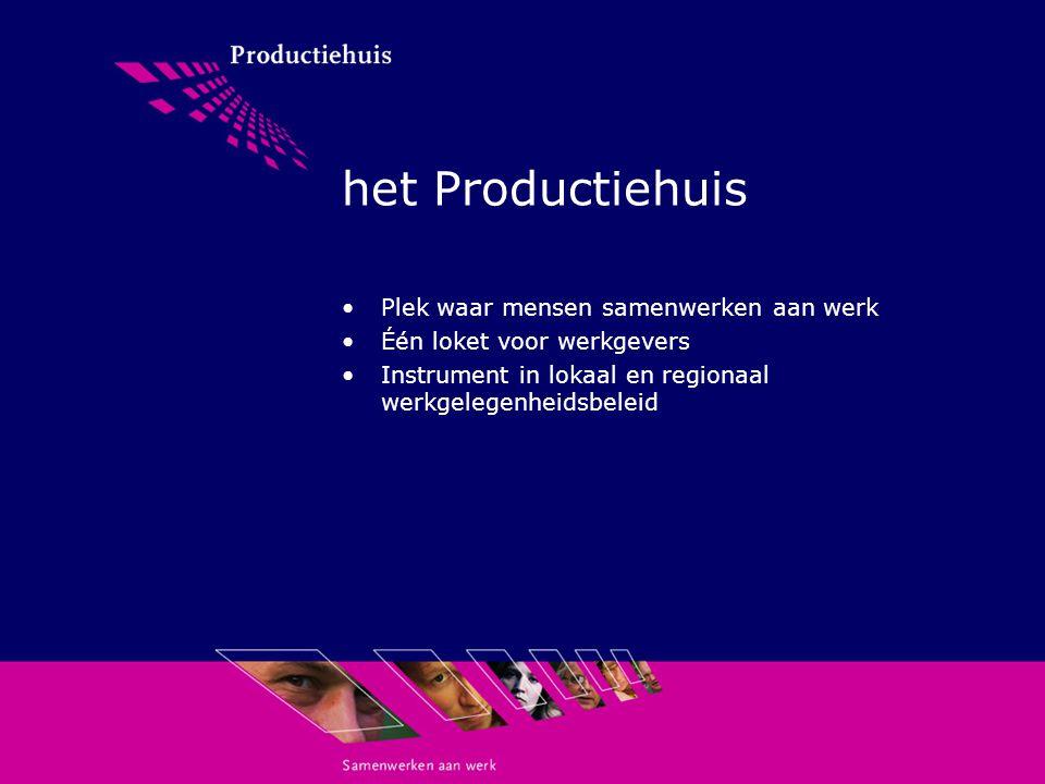 het Productiehuis Plek waar mensen samenwerken aan werk Één loket voor werkgevers Instrument in lokaal en regionaal werkgelegenheidsbeleid