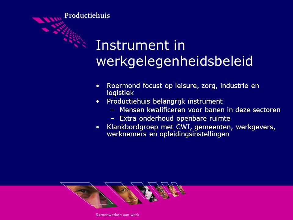 Instrument in werkgelegenheidsbeleid Roermond focust op leisure, zorg, industrie en logistiek Productiehuis belangrijk instrument –Mensen kwalificeren voor banen in deze sectoren –Extra onderhoud openbare ruimte Klankbordgroep met CWI, gemeenten, werkgevers, werknemers en opleidingsinstellingen