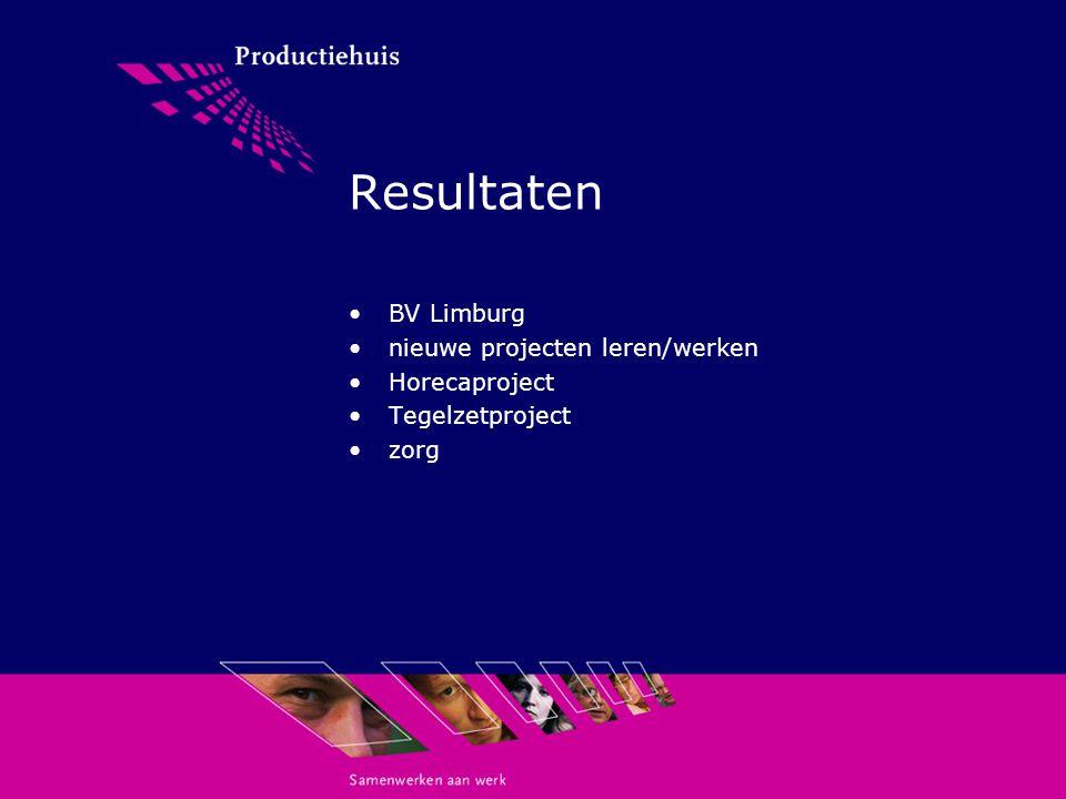 Resultaten BV Limburg nieuwe projecten leren/werken Horecaproject Tegelzetproject zorg