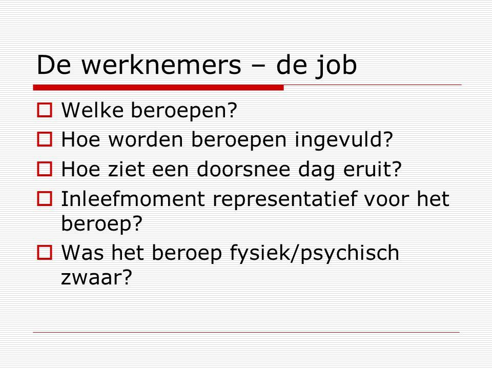 De werknemers – de job  Welke beroepen.  Hoe worden beroepen ingevuld.