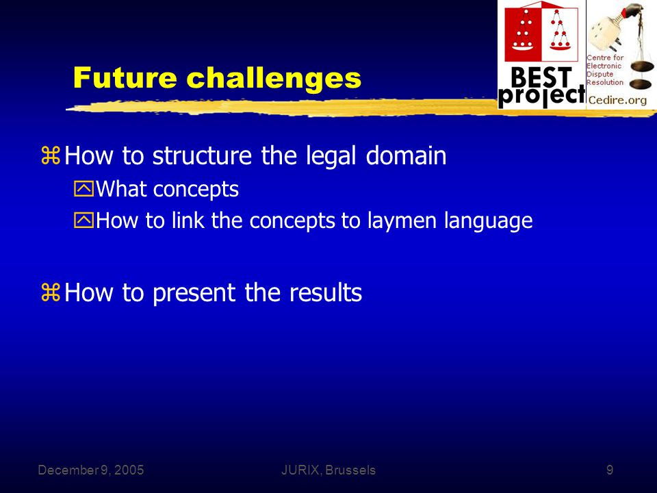 December 9, 2005JURIX, Brussels9 Future challenges zHow to structure the legal domain yWhat concepts yHow to link the concepts to laymen language zHow