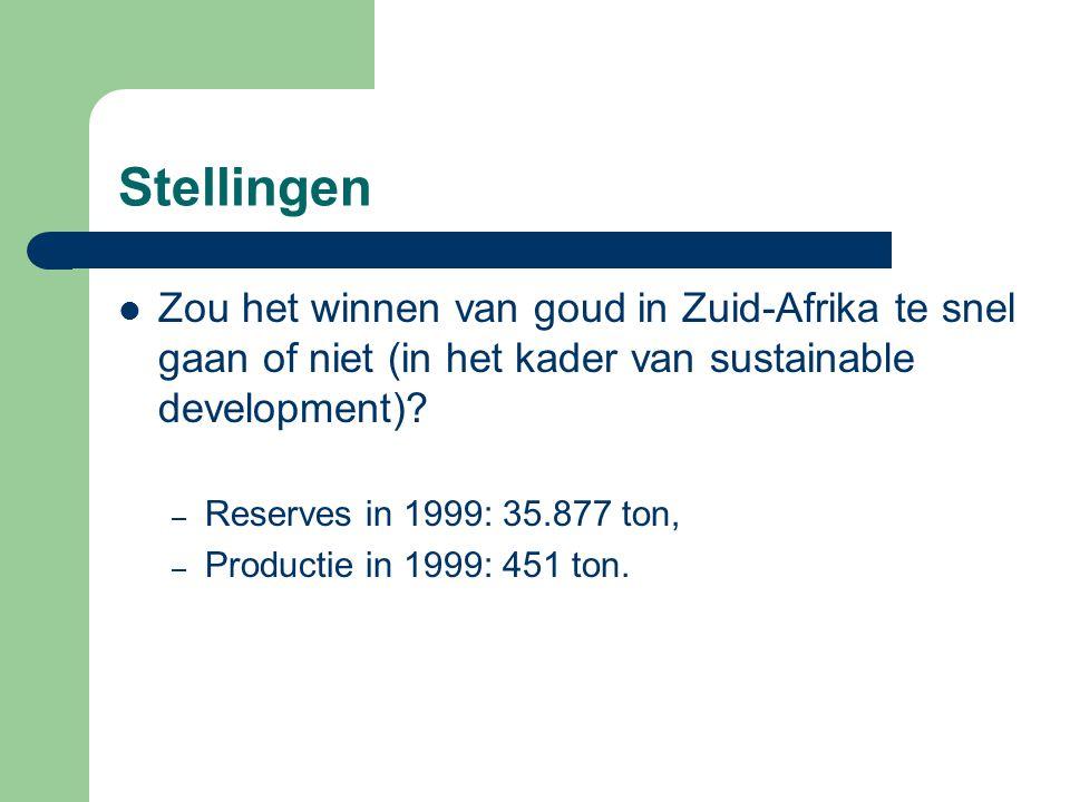 Stellingen Zou het winnen van goud in Zuid-Afrika te snel gaan of niet (in het kader van sustainable development).