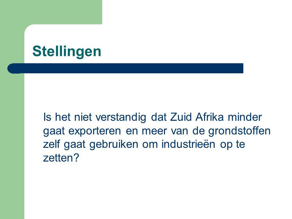 Stellingen Is het niet verstandig dat Zuid Afrika minder gaat exporteren en meer van de grondstoffen zelf gaat gebruiken om industrieën op te zetten