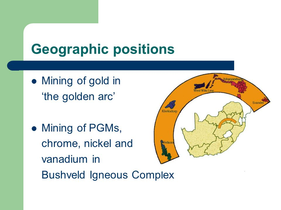 Economy South Africa 8,1 % BBP (to 12%) Europe 7% BBP Environmental pressure Netto importer Mining companies