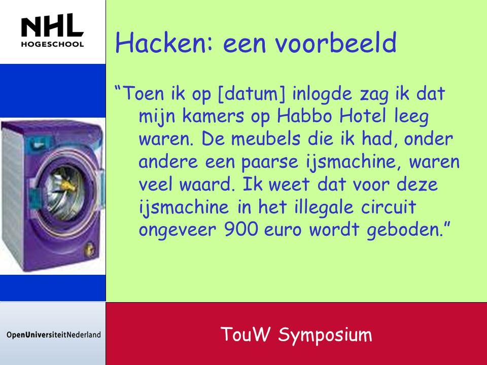 """Hacken: een voorbeeld """"Toen ik op [datum] inlogde zag ik dat mijn kamers op Habbo Hotel leeg waren. De meubels die ik had, onder andere een paarse ijs"""