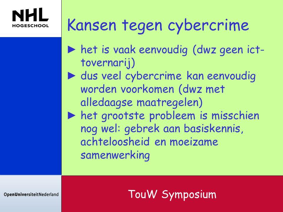 Kansen tegen cybercrime ► het is vaak eenvoudig (dwz geen ict- tovernarij) ► dus veel cybercrime kan eenvoudig worden voorkomen (dwz met alledaagse ma