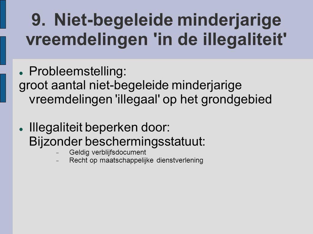 9.Niet-begeleide minderjarige vreemdelingen 'in de illegaliteit' Probleemstelling: groot aantal niet-begeleide minderjarige vreemdelingen 'illegaal' o