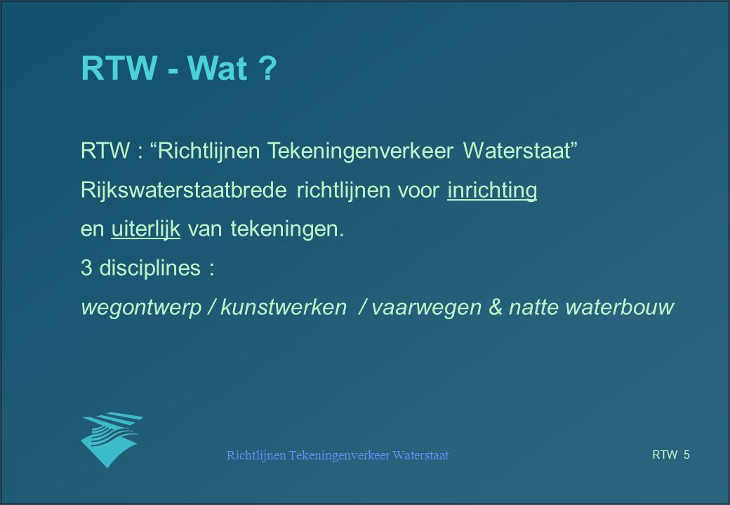 Richtlijnen Tekeningenverkeer Waterstaat RTW 26 RTW RWS projecten (1) bekendheid bij PL's bekendheid bij opdrachtnemers