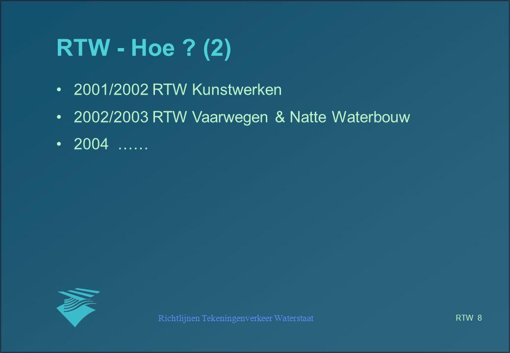 Richtlijnen Tekeningenverkeer Waterstaat RTW 19 RTW – beschikbaarheid Intranet site: www.venwnet.minvenw.nl/rws/rtw - intern V&W Extranetsite: www.wwws.bouwdienst.nl - beveiligd met UI en password - voor derden Internet site: www.minvenw.nl/rtw - puur informatief