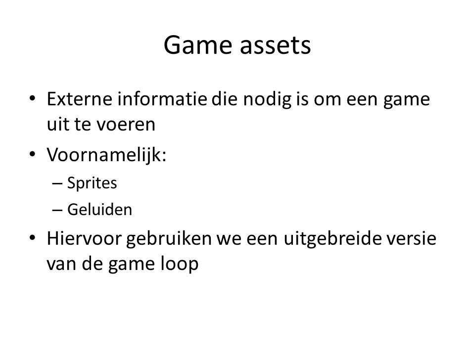 Game assets Externe informatie die nodig is om een game uit te voeren Voornamelijk: – Sprites – Geluiden Hiervoor gebruiken we een uitgebreide versie van de game loop
