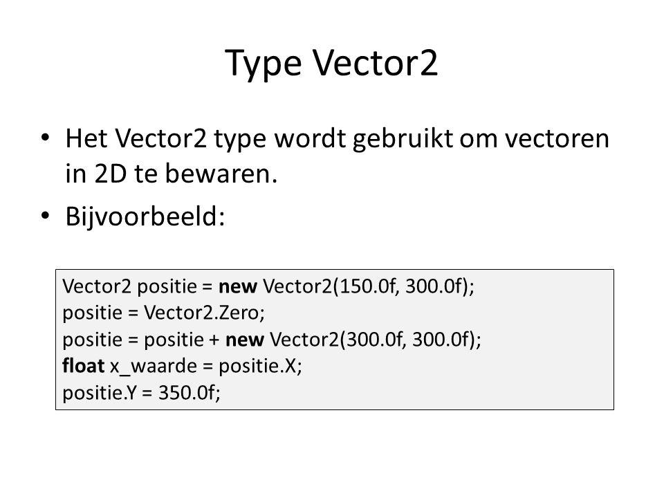 Type Vector2 Het Vector2 type wordt gebruikt om vectoren in 2D te bewaren.