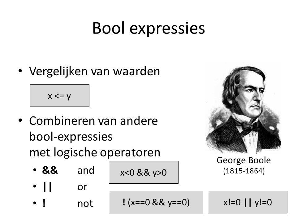 Bool expressies Vergelijken van waarden Combineren van andere bool-expressies met logische operatoren &&and ||or !not x <= y x 0 .