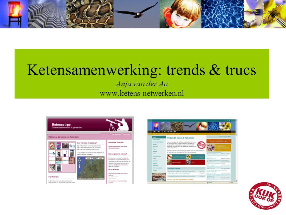 Ketensamenwerking: trends & trucs Anja van der Aa www.ketens-netwerken.nl