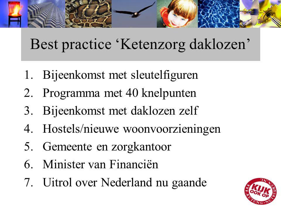 Best practice 'Ketenzorg daklozen' 1.Bijeenkomst met sleutelfiguren 2.Programma met 40 knelpunten 3.Bijeenkomst met daklozen zelf 4.Hostels/nieuwe woo