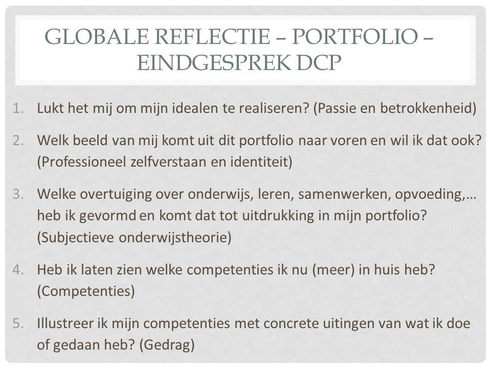 GLOBALE REFLECTIE – PORTFOLIO – EINDGESPREK DCP 1.Lukt het mij om mijn idealen te realiseren? (Passie en betrokkenheid) 2.Welk beeld van mij komt uit