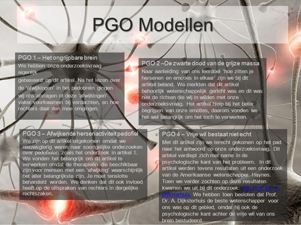 PGO 1 – Het ongrijpbare brein We hebben onze onderzoeksvraag eigenlijk gebaseerd op dit artikel. Na het lezen over de 'afwijkingen' in het pedobrein g