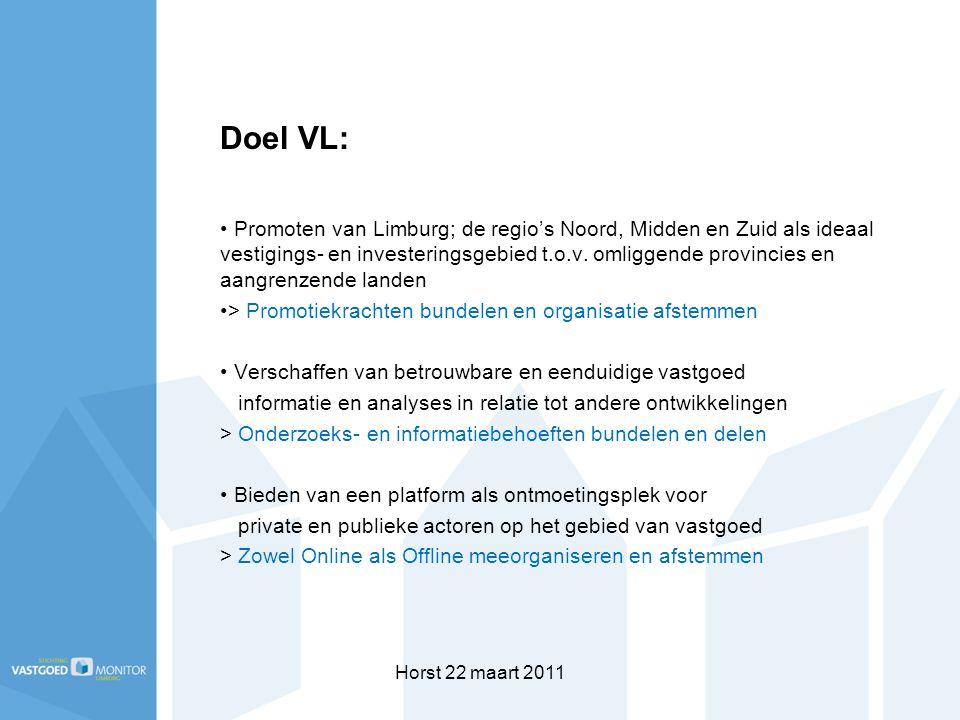 Horst 22 maart 2011 Doel VL: Promoten van Limburg; de regio's Noord, Midden en Zuid als ideaal vestigings- en investeringsgebied t.o.v. omliggende pro
