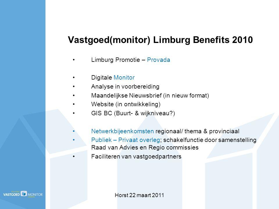 Horst 22 maart 2011 Vastgoed(monitor) Limburg Benefits 2010 Limburg Promotie – Provada Digitale Monitor Analyse in voorbereiding Maandelijkse Nieuwsbr