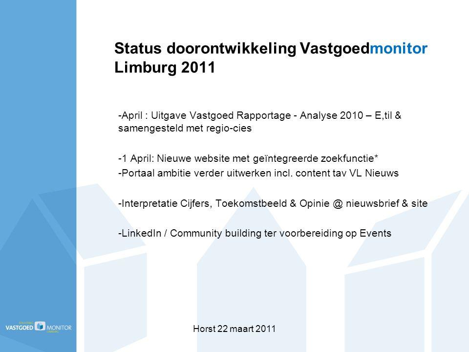Horst 22 maart 2011 Status doorontwikkeling Vastgoedmonitor Limburg 2011 -April : Uitgave Vastgoed Rapportage - Analyse 2010 – E,til & samengesteld met regio-cies -1 April: Nieuwe website met geïntegreerde zoekfunctie* -Portaal ambitie verder uitwerken incl.