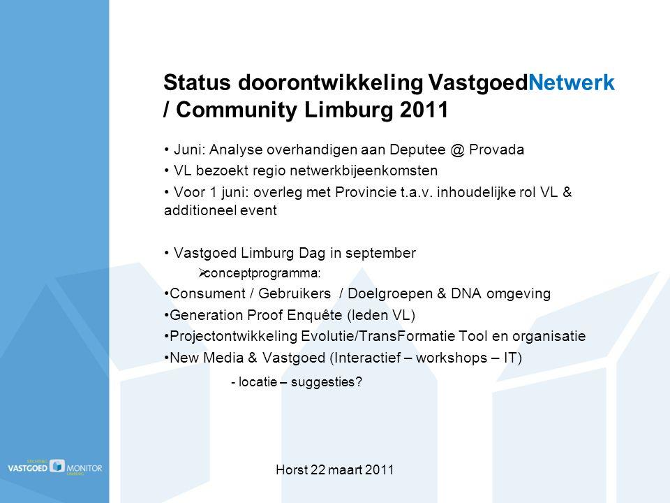 Horst 22 maart 2011 Status doorontwikkeling VastgoedNetwerk / Community Limburg 2011 Juni: Analyse overhandigen aan Deputee @ Provada VL bezoekt regio