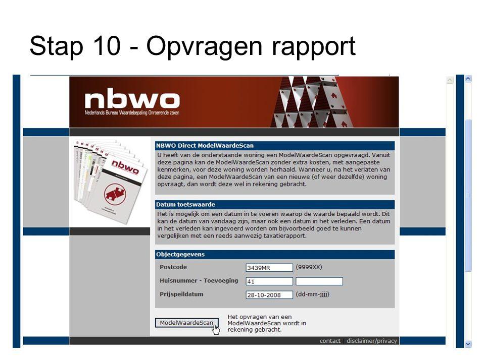 Stap 10 - Opvragen rapport