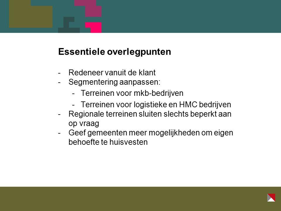 Essentiele overlegpunten -Redeneer vanuit de klant -Segmentering aanpassen: -Terreinen voor mkb-bedrijven -Terreinen voor logistieke en HMC bedrijven -Regionale terreinen sluiten slechts beperkt aan op vraag -Geef gemeenten meer mogelijkheden om eigen behoefte te huisvesten