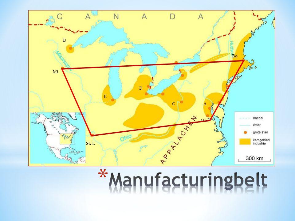 Manufacturing Belt Fase 1: Pittsburg  Aanwezigheid van grondstoffen Fase 2: Chicago  Aanwezigheid van arbeidskrachten, afzetmarkt, transportmiddelen Fase 3: maritimisatie  Lage transportkost  Opboksen teken concurrentie