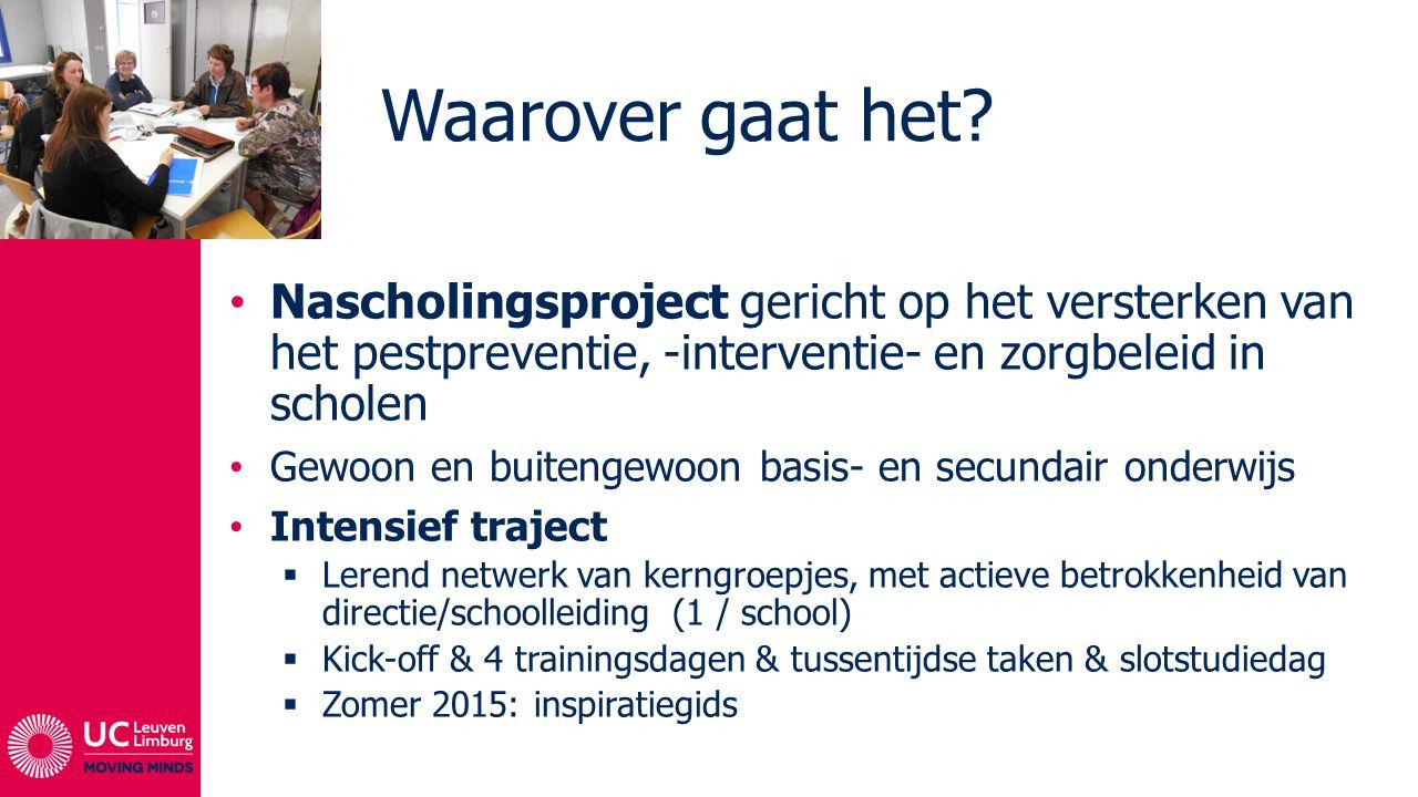Doelstellingen Kennisverbreding en verdieping (professionalisering) Structureel versterken van het schoolbeleid (algemeen – pestpreventie en –aanpak)  Effectievere aanpak (daling aantal pesterijen – verbeteren/versterken van het school- en klasklimaat)  Effectiever onderwijs + Respecteren/consequent hanteren van IVRK
