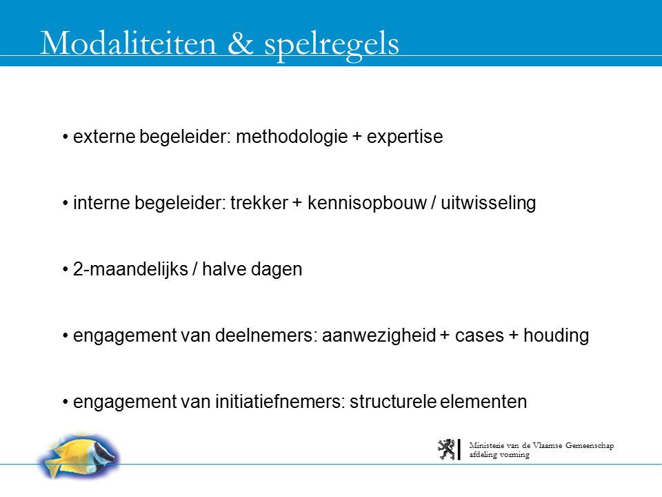 Modaliteiten & spelregels externe begeleider: methodologie + expertise interne begeleider: trekker + kennisopbouw / uitwisseling 2-maandelijks / halve