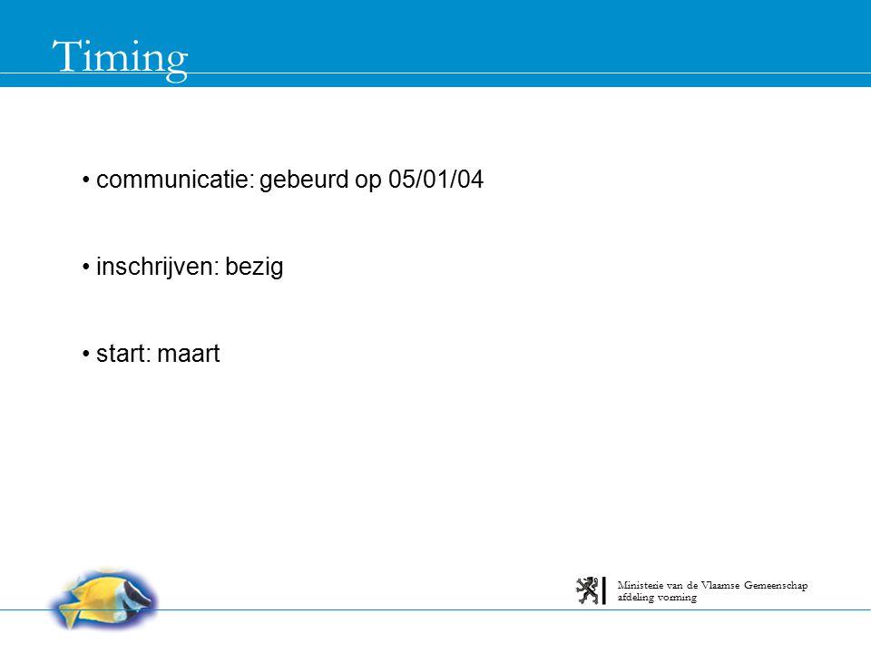 Timing communicatie: gebeurd op 05/01/04 inschrijven: bezig start: maart afdeling vorming Ministerie van de Vlaamse Gemeenschap