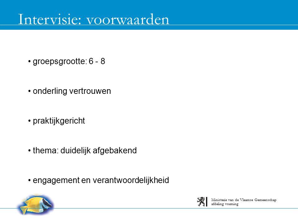 Intervisie: deelnemers inlevingsvermogen luisteren vragen stellen feedback geven nobody is perfect afdeling vorming Ministerie van de Vlaamse Gemeenschap