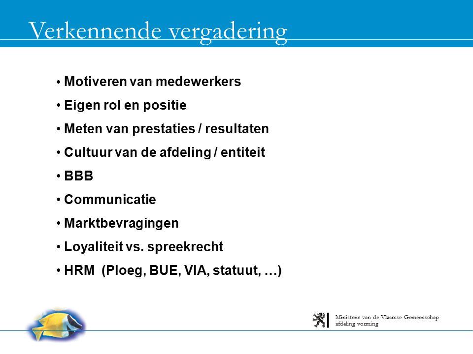 Verkennende vergadering afdeling vorming Ministerie van de Vlaamse Gemeenschap Motiveren van medewerkers Eigen rol en positie Meten van prestaties / r