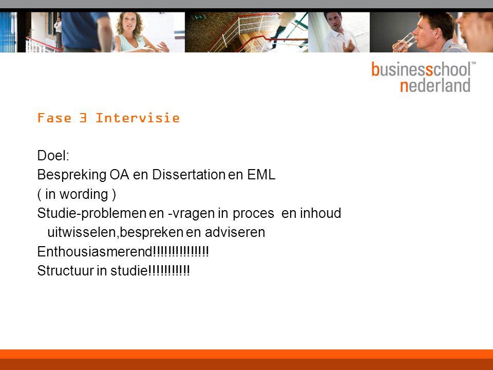 Fase 3 Intervisie Doel: Bespreking OA en Dissertation en EML ( in wording ) Studie-problemen en -vragen in proces en inhoud uitwisselen,bespreken en adviseren Enthousiasmerend!!!!!!!!!!!!!!.