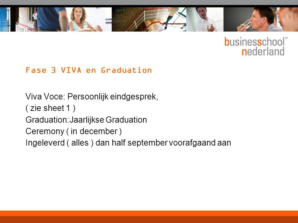 Fase 3 VIVA en Graduation Viva Voce: Persoonlijk eindgesprek, ( zie sheet 1 ) Graduation:Jaarlijkse Graduation Ceremony ( in december ) Ingeleverd ( alles ) dan half september voorafgaand aan