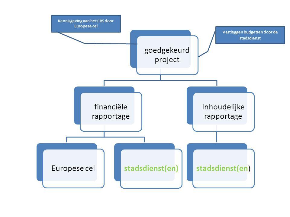 goedgekeurd project stuurgroep en financiële werkgroepen Europese cel (stadsdienst(en)) Inhoudelijke werkgroepen stadsdienst(en)