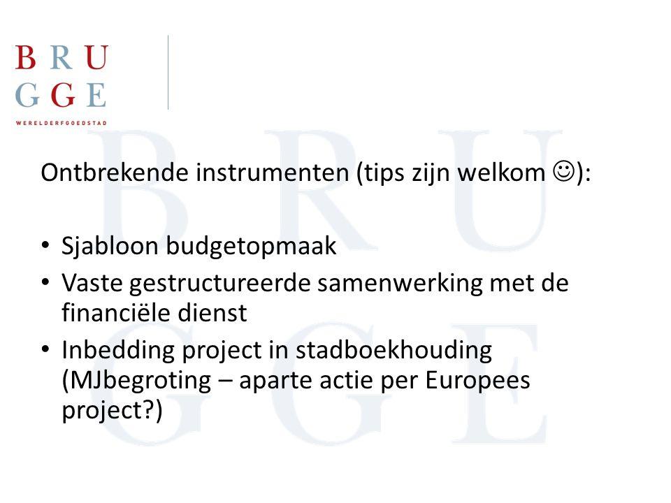 Ontbrekende instrumenten (tips zijn welkom ): Sjabloon budgetopmaak Vaste gestructureerde samenwerking met de financiële dienst Inbedding project in stadboekhouding (MJbegroting – aparte actie per Europees project )
